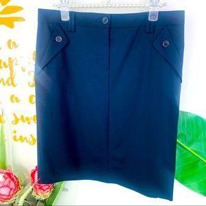 THEORY Navy Blue Wool Blend Pencil Skirt Size 4